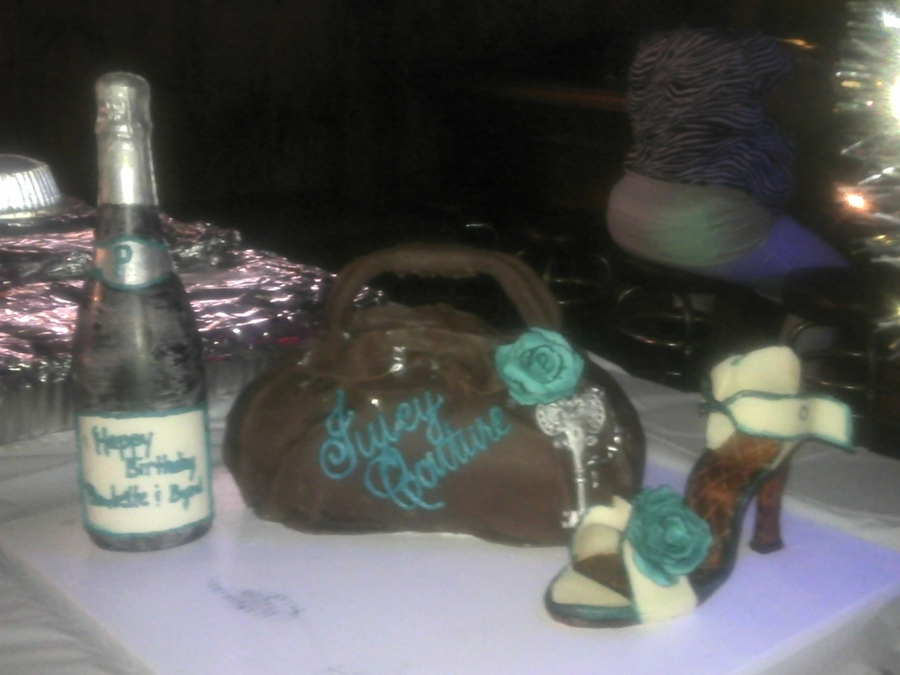 3D Juicy Couture Purse And Mc Shoe And Bottle  on Cake Central