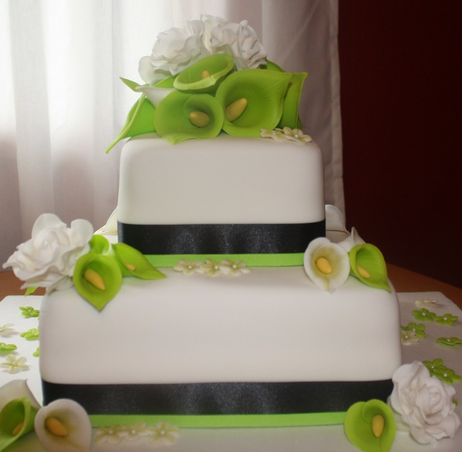 Lime Green And Black Wedding Cake - CakeCentral.com