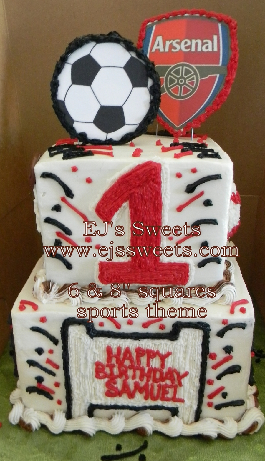 Arsenal Sports Theme 1St Birthday Cake CakeCentralcom