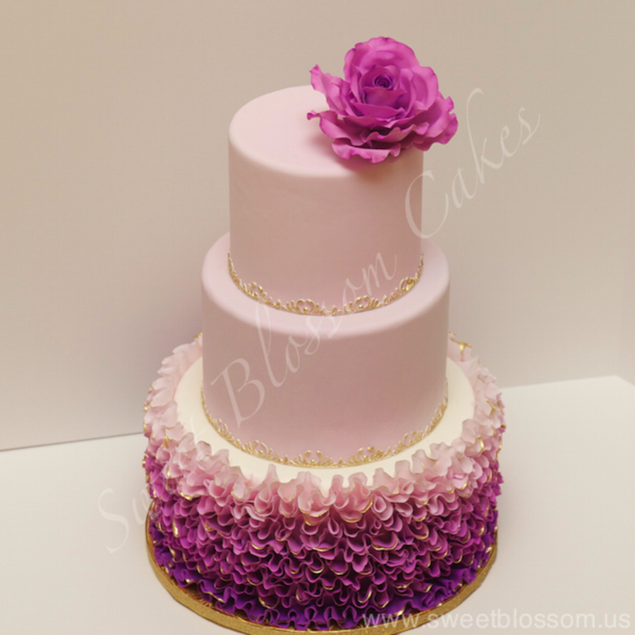 Ruffles And Rose Wedding Cake on Cake Central
