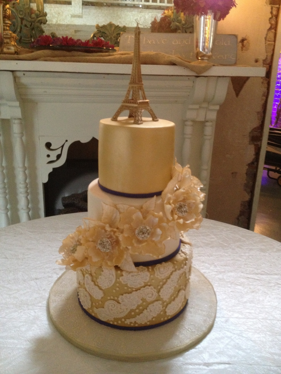 Gold Paris Themed Wedding Cake Cakecentral