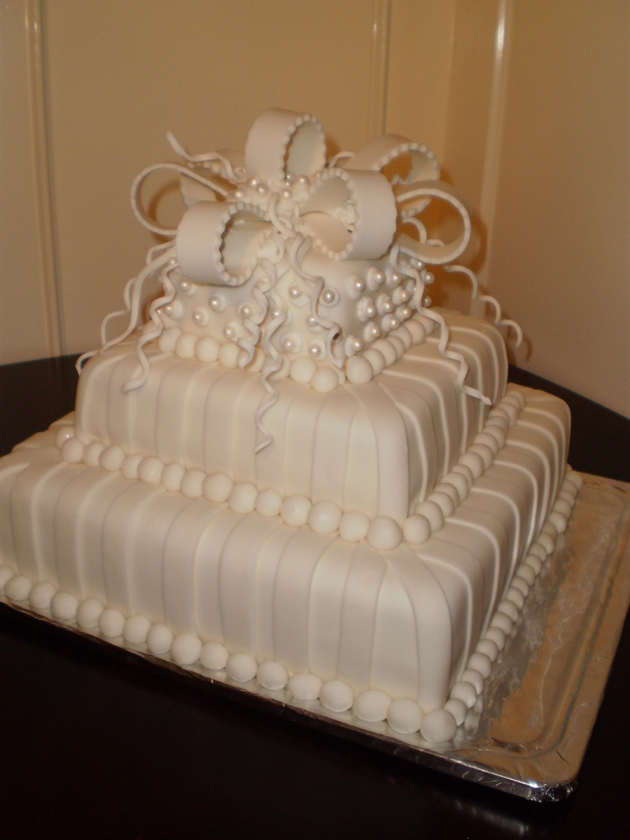 White With Pearls Square 3 Tier Wedding Cake Cakecentral Com