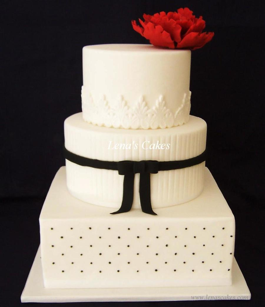 Black And White Wedding Cake With Large Red Peony - CakeCentral.com
