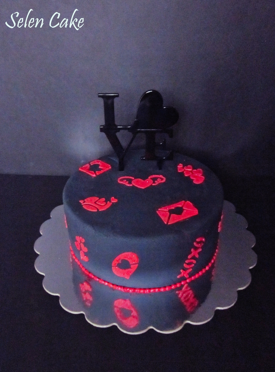 Love Cake With Stencil Decoration on Cake Central