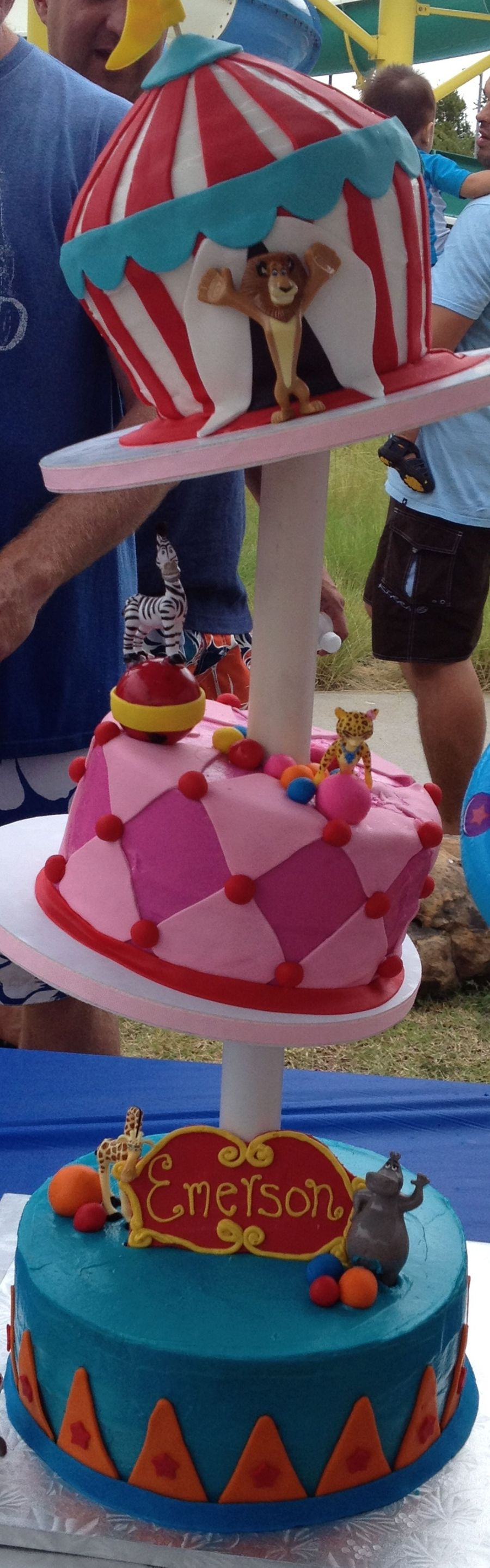 Topsy Turvy Madagascar Circus Cake on Cake Central