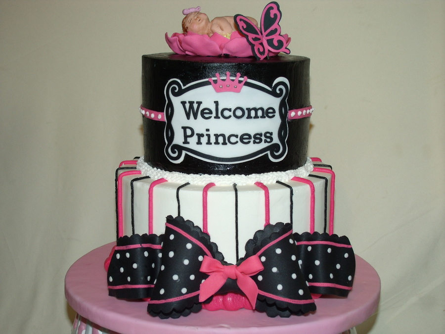 Hot Pink Black And White Baby Shower Cake Cakecentral Com