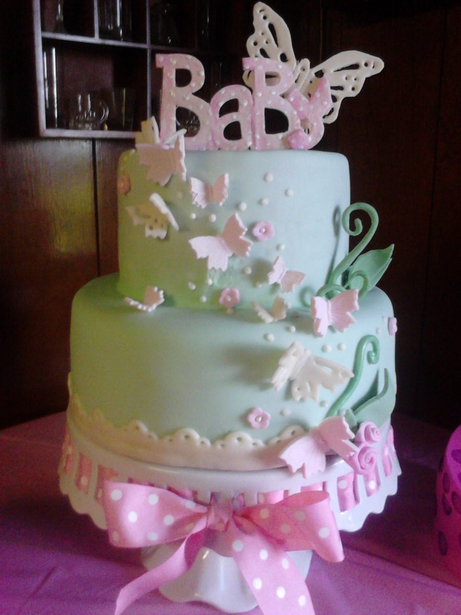 Baby Shower Cakes With Flowers And Butterflies