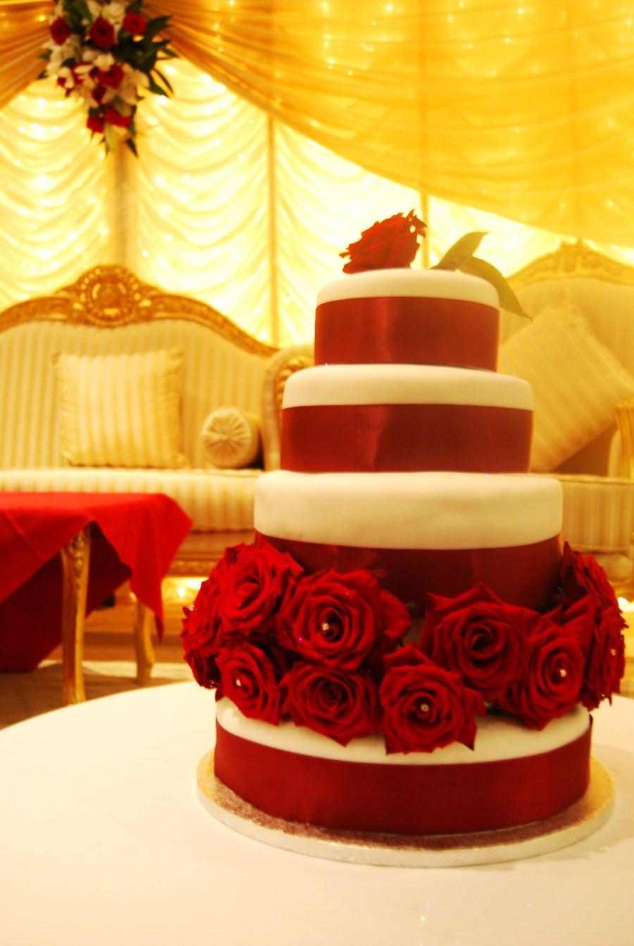 Red&white Rose Wedding Cake - CakeCentral.com