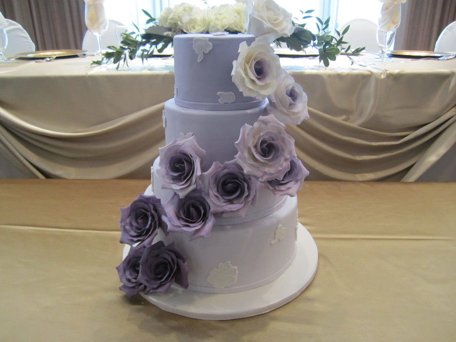 Purple Ombre Wedding Cake Based Off A Cake By Cupcakes Couture on Cake Central