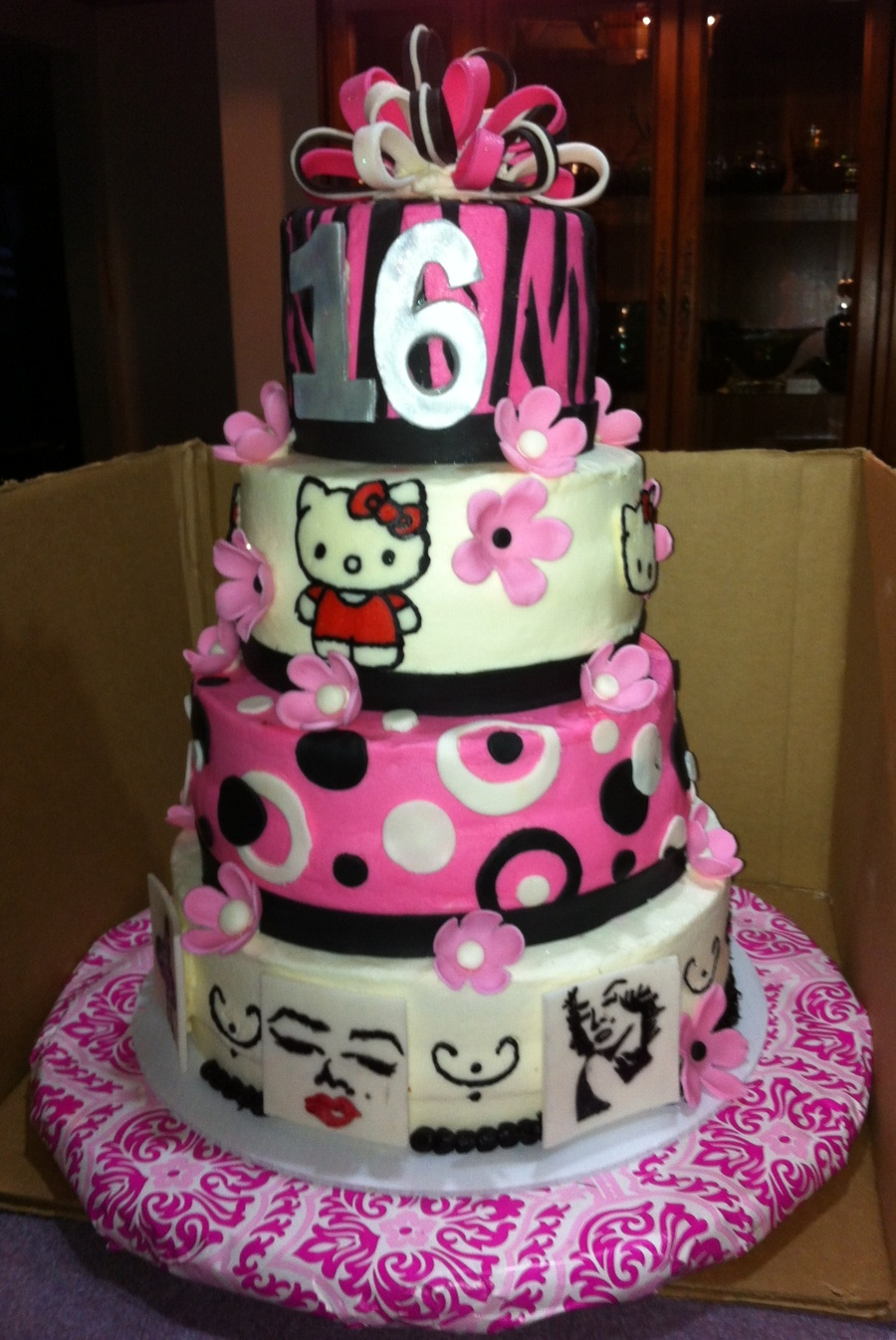 Sweet 16 With Hello Kitty And Marilyn Monroe on Cake Central