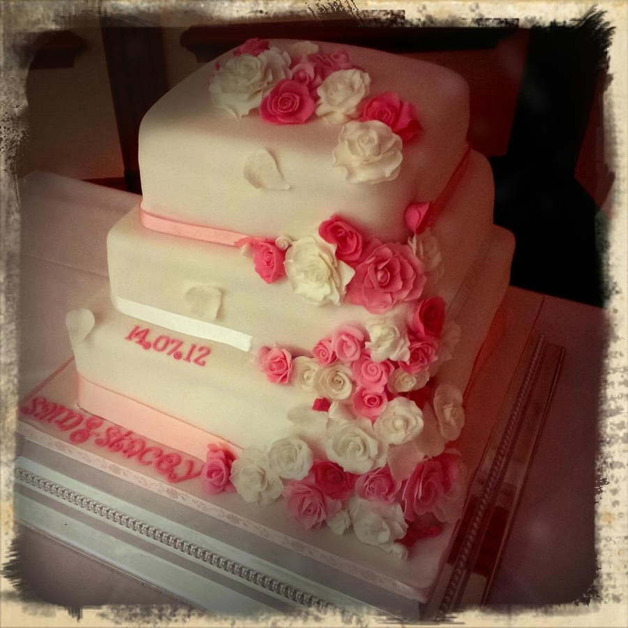Rose Theme Wedding Cake on Cake Central