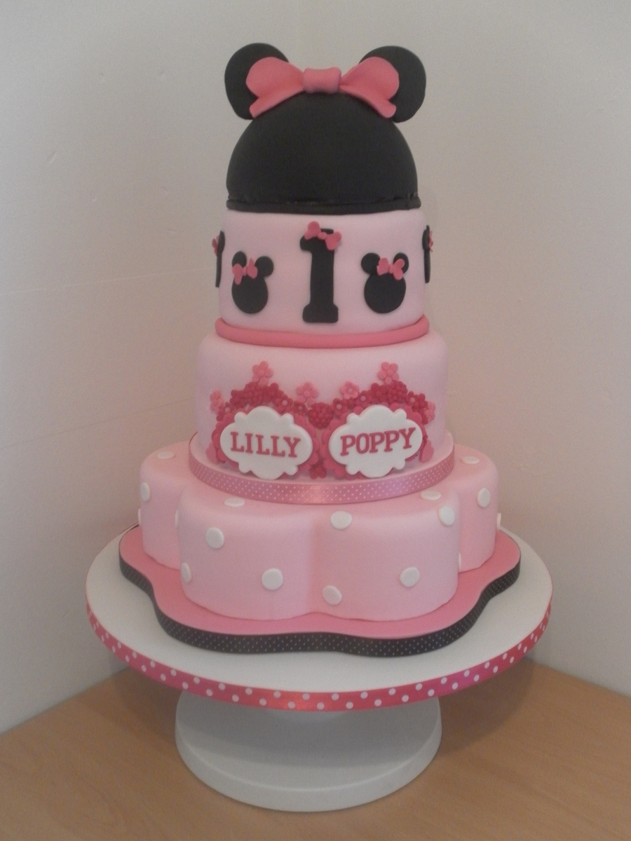 Awesome Minnie Mouse Twin Birthday Cake Cakecentral Com Personalised Birthday Cards Veneteletsinfo