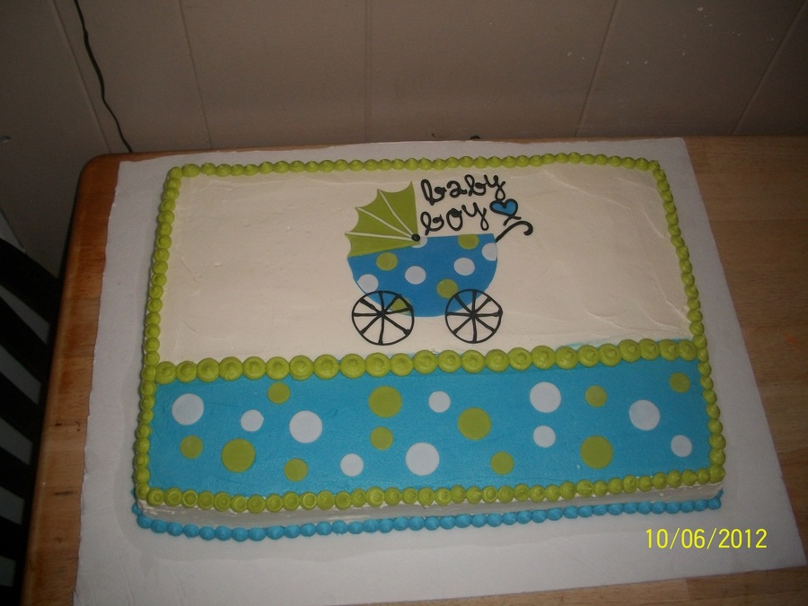 Baby Boy Shower Cake Blue And Green  on Cake Central
