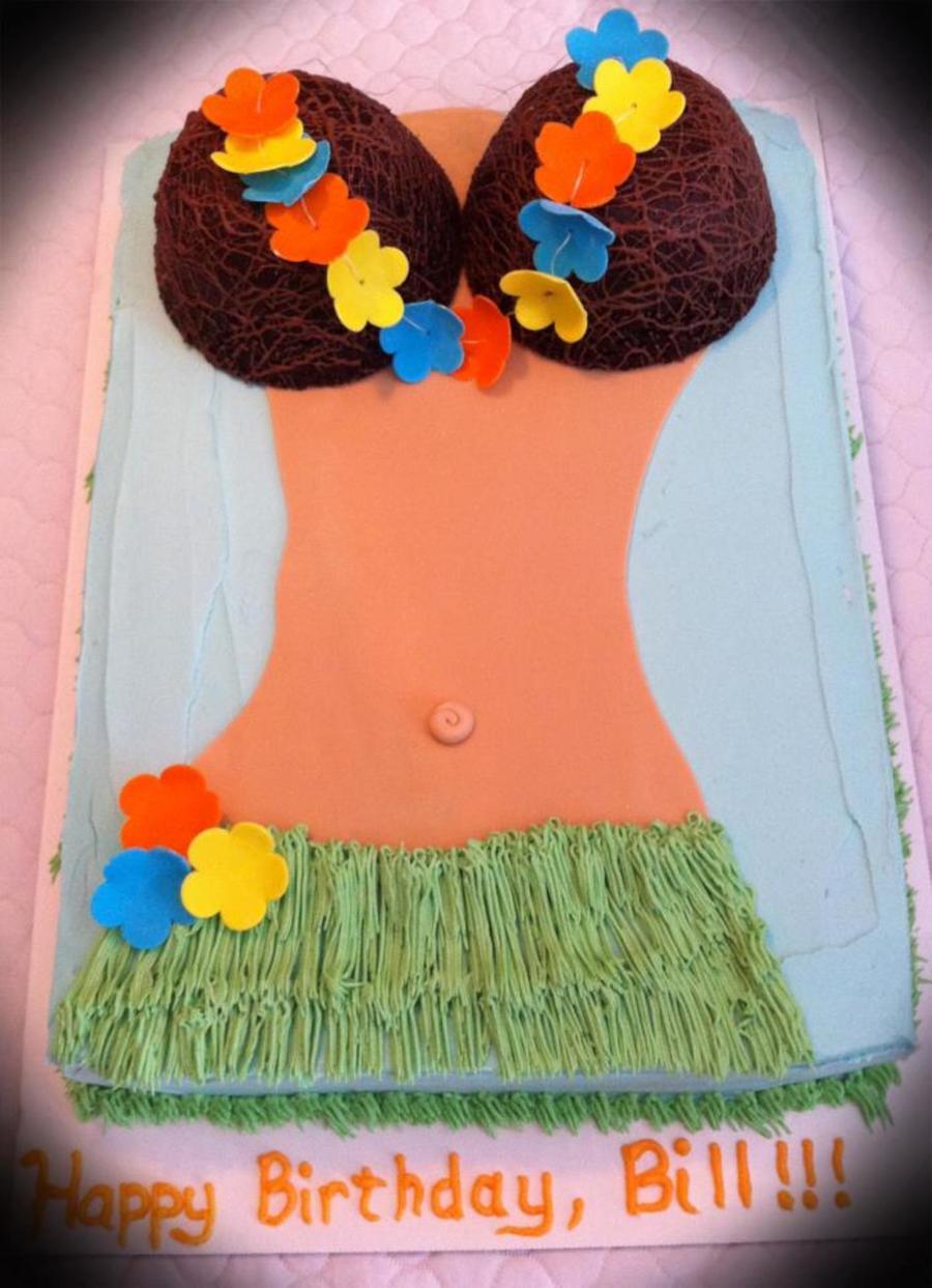 Hula Girl Sheet Cake Coconut Bra Lei Grass Skirt