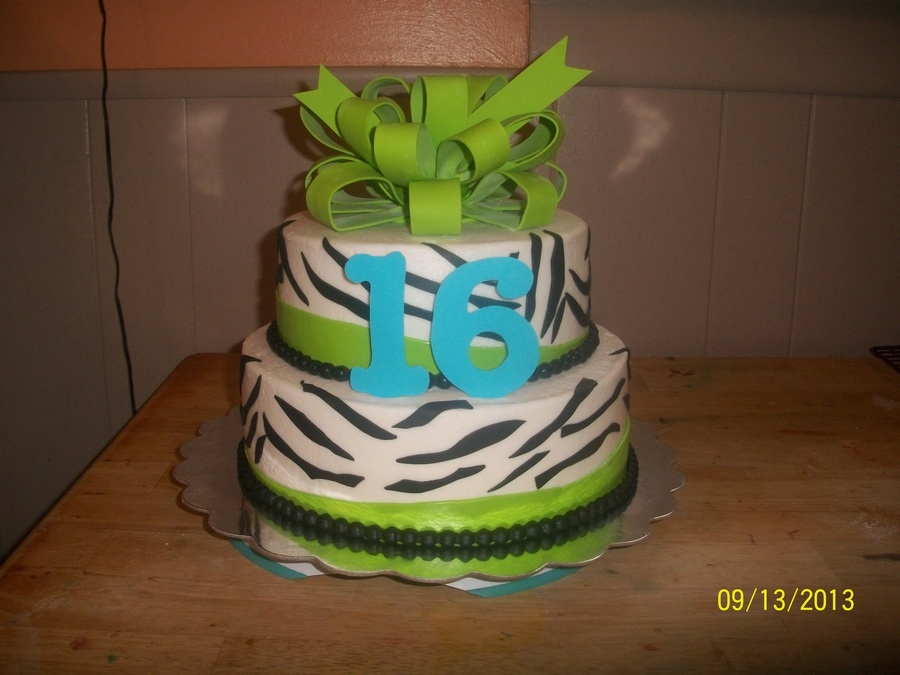 Zebra And Lime Green Birthday Cake With Gumpaste Bow Topper on Cake Central