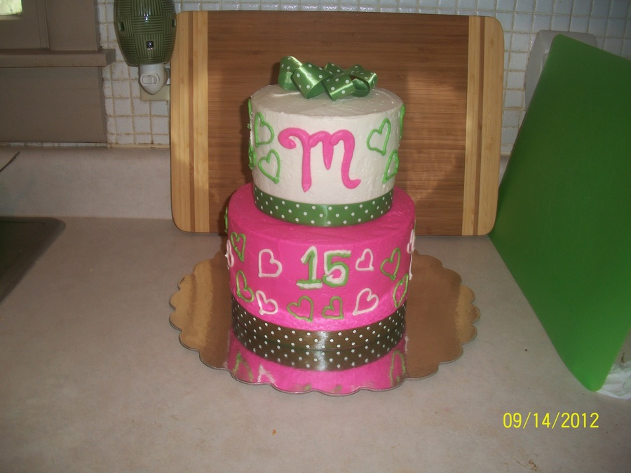 Pink And Green Cake on Cake Central