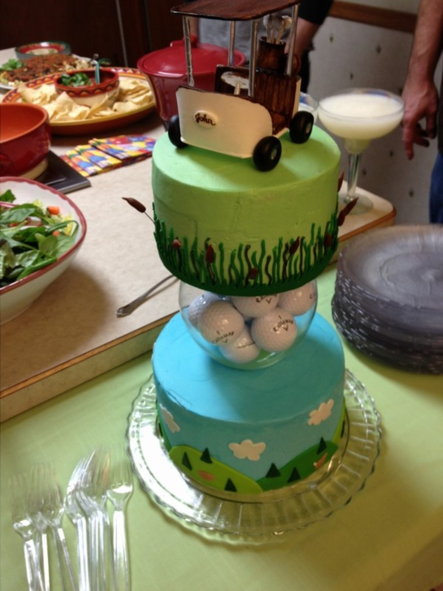 Golf Cake With Gumpaste Golf Cart Topper Cakecentral Com