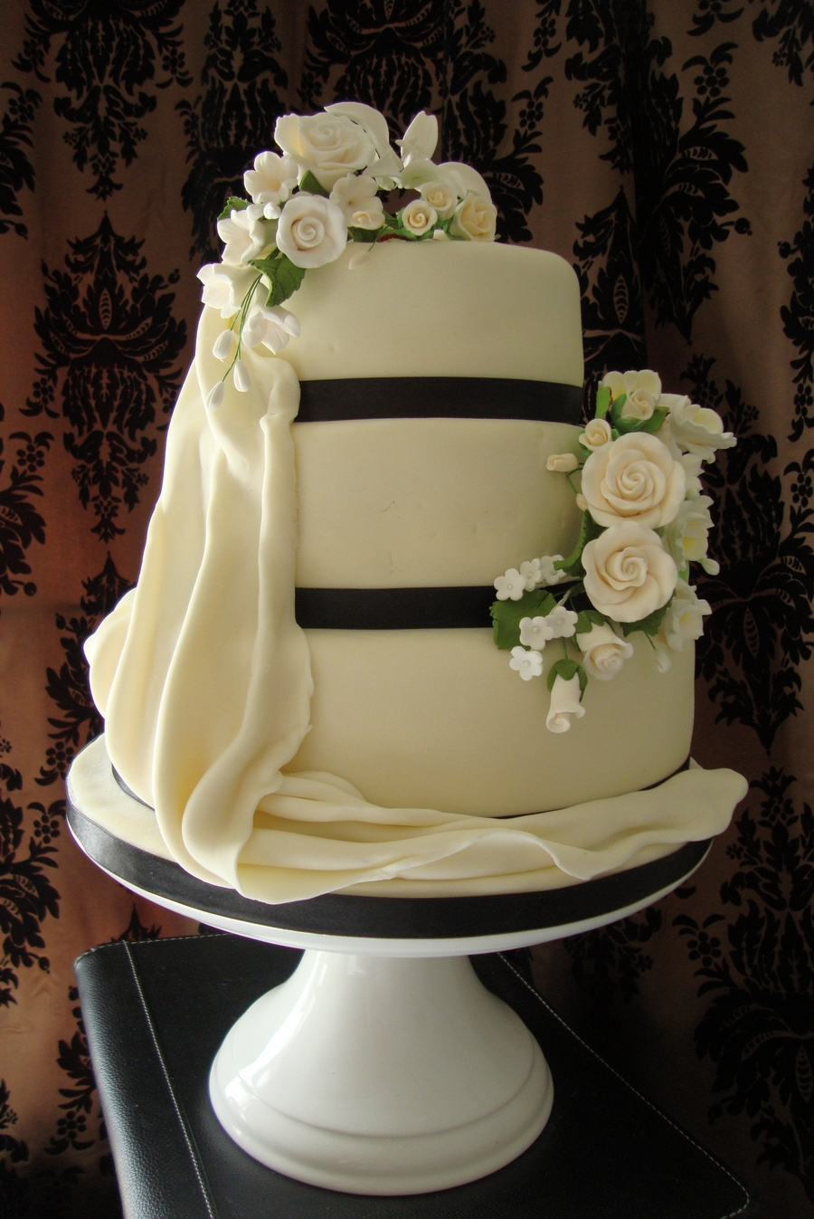 3 Tier Wedding Cake With Sugar Flowers And Sugar Drape on Cake Central