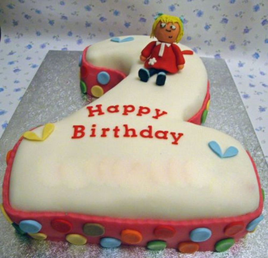 Charlie And Lola Number 2 Shaped Cake Cakecentral