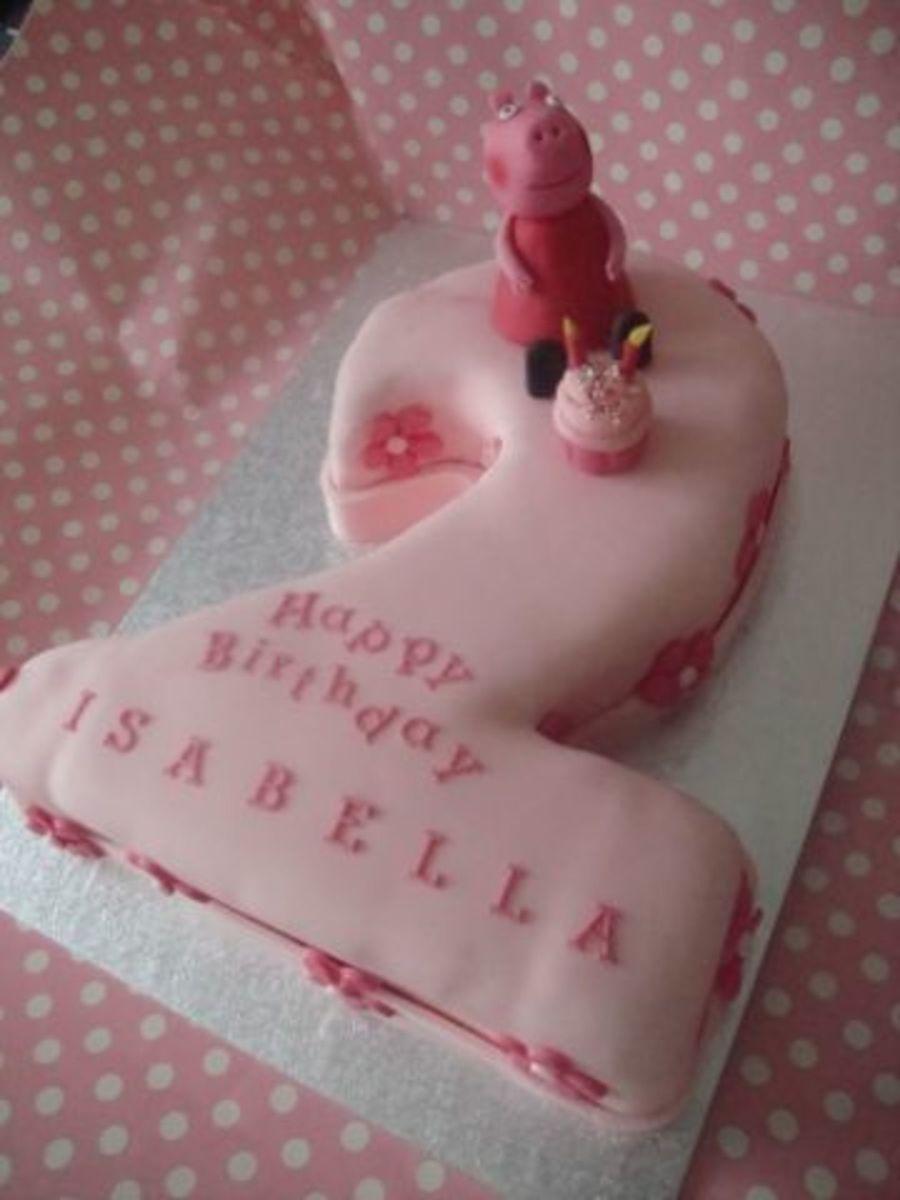 Peppa Pig Number 2 Shaped Cake Cakecentral
