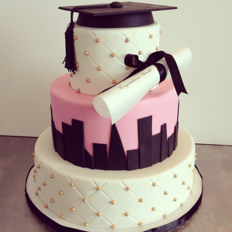 Skyline Mortarboard And Diploma Graduation Cake on Cake Central