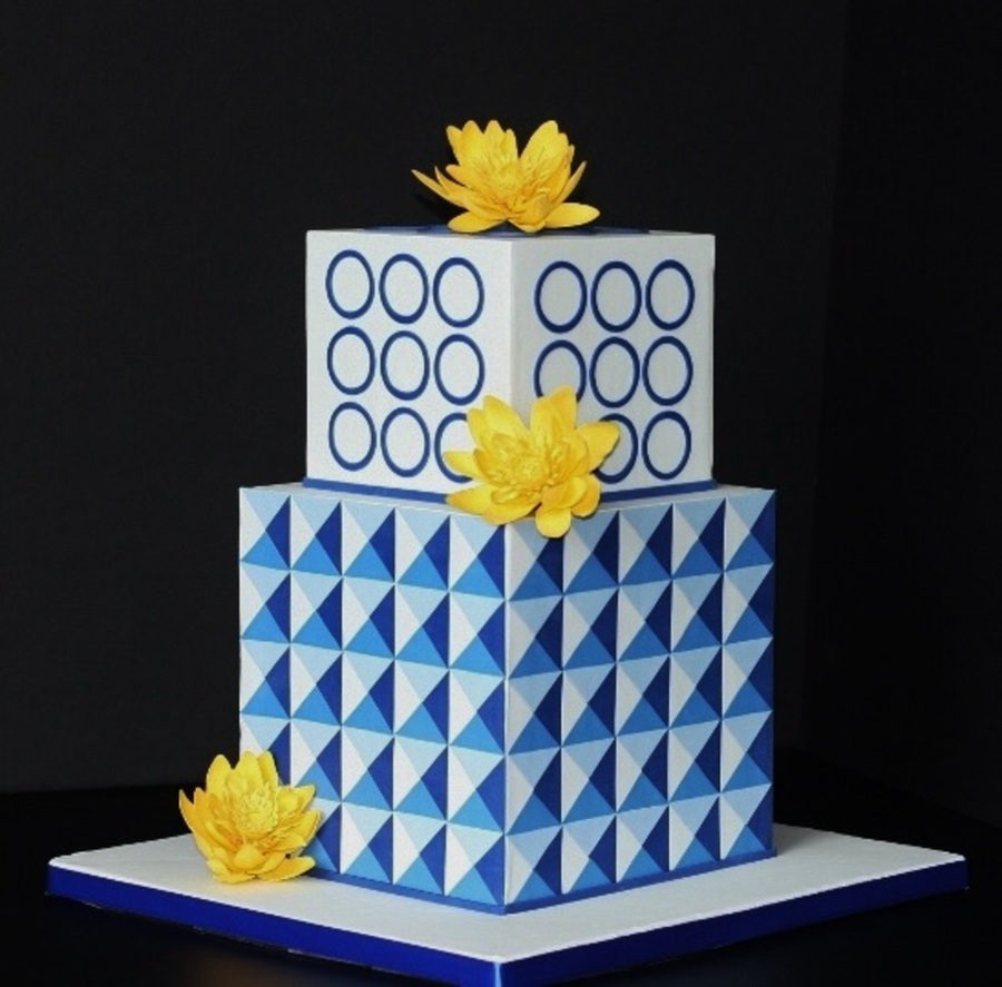 Geometric Cake With Lotus Flowers Cakecentral Com