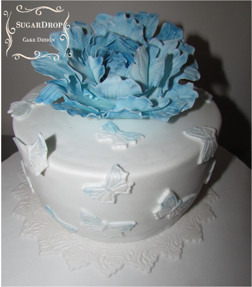 Blue Peony And White Butterflies on Cake Central