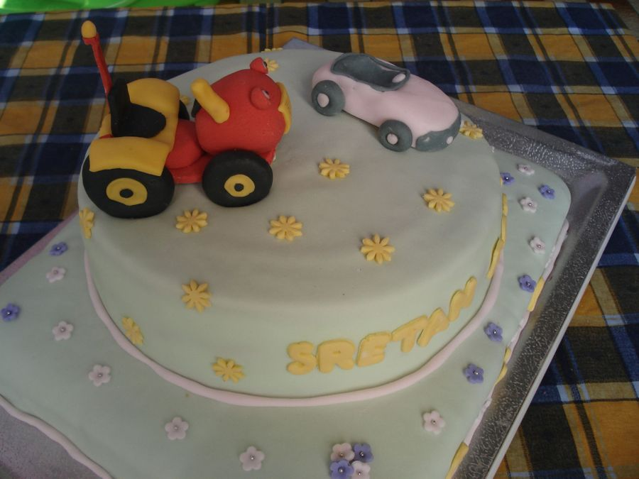 Tractor Tom & Car on Cake Central