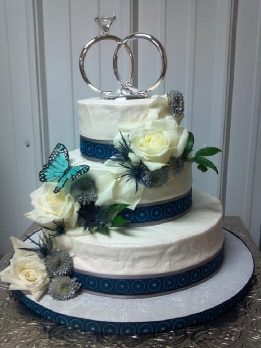 White Roses And Butterfly Wedding Cake on Cake Central