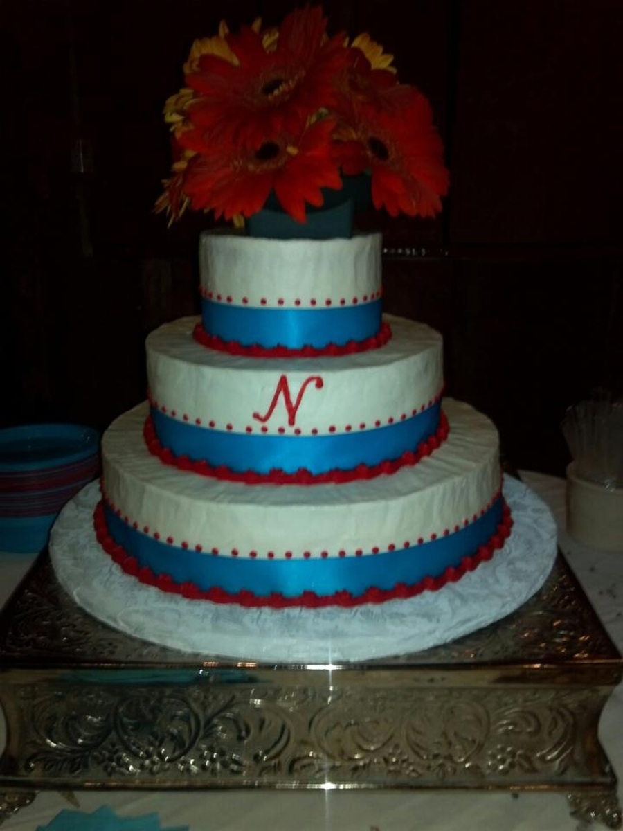 Round Red And Teal Wedding Cake on Cake Central