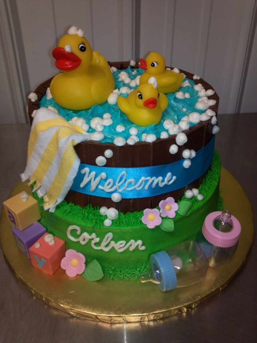 rubber ducky baby shower cake