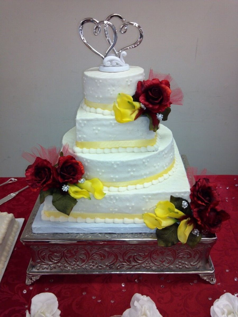 Red Roses And Yellow Calla Lillies Mixed Shape Wedding Cake on Cake Central