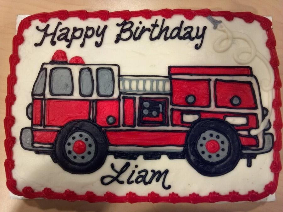 firetruck sheet cake