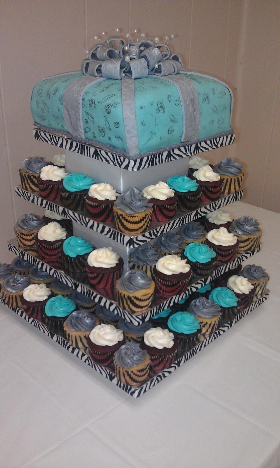 Tiffany Bluewhitesilverzebra Print Baby Shower Cakecentral