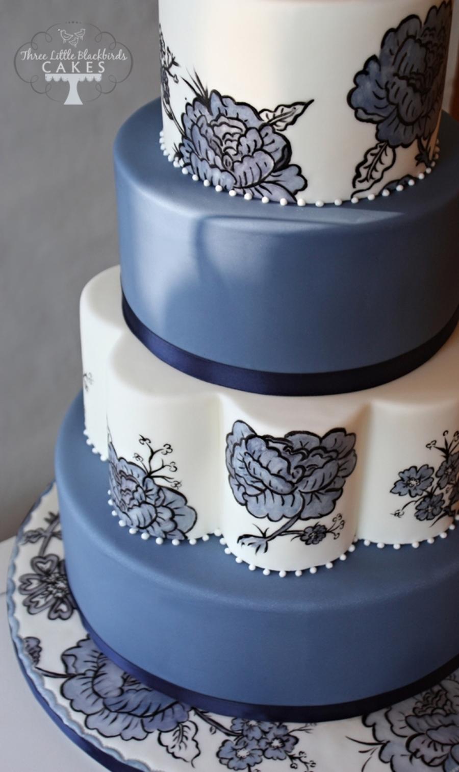 Blue Floral Cakecentral Com