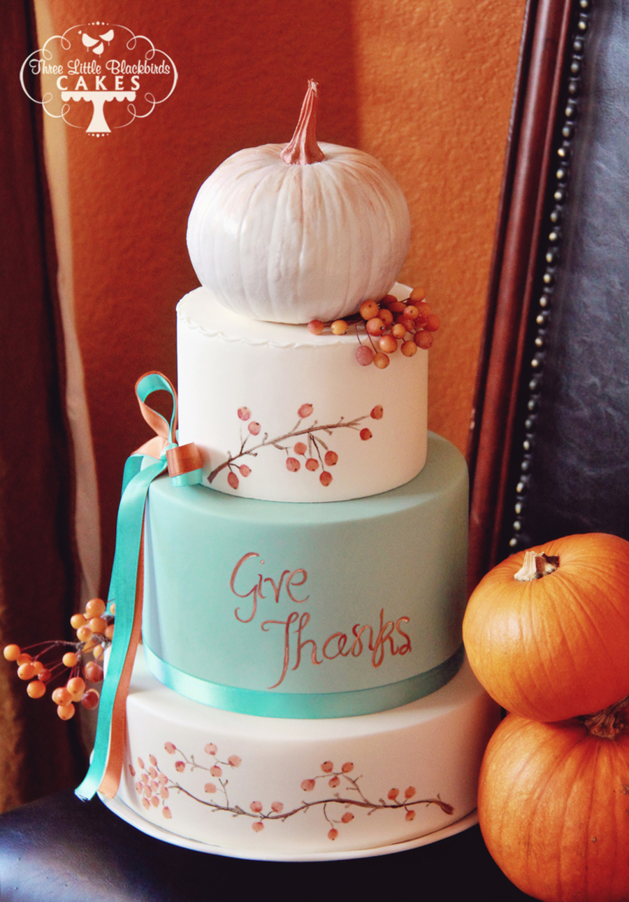 Turquoise And Orange Thanksgiving Cake Topped With A Hand Painted Pumpkins And Crab Apples on Cake Central