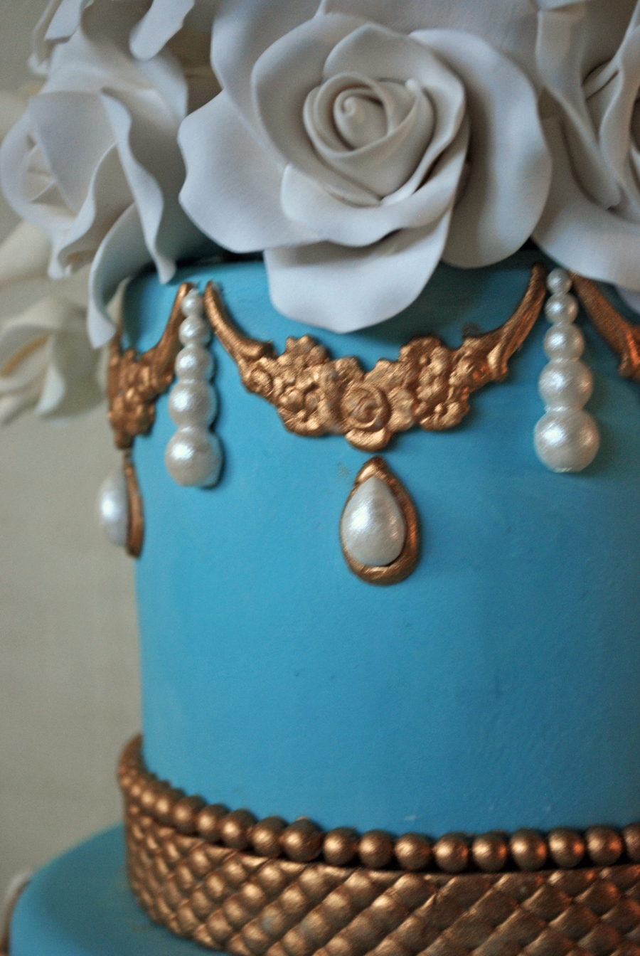 blue and gold wedding cake blue and gold wedding cake cakecentral 11943