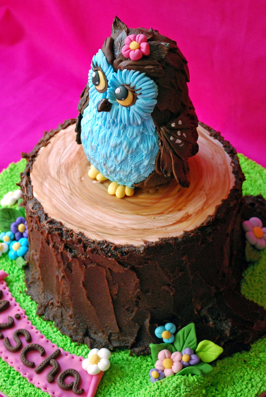 Owl cake for Baby shower foam decoration