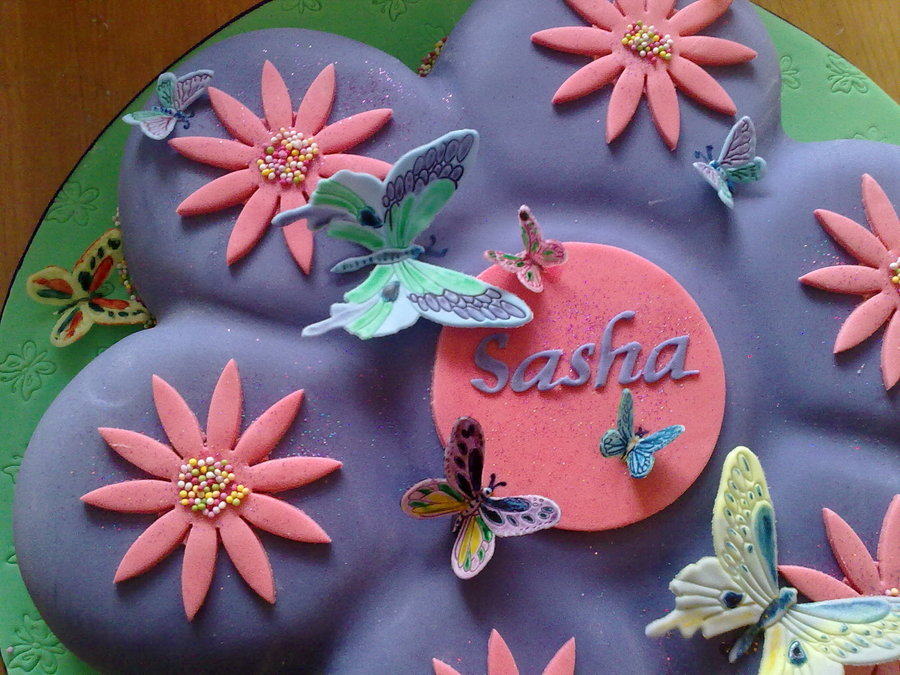 Stupendous Purple Butterfly Birthday Cake Cakecentral Com Funny Birthday Cards Online Overcheapnameinfo