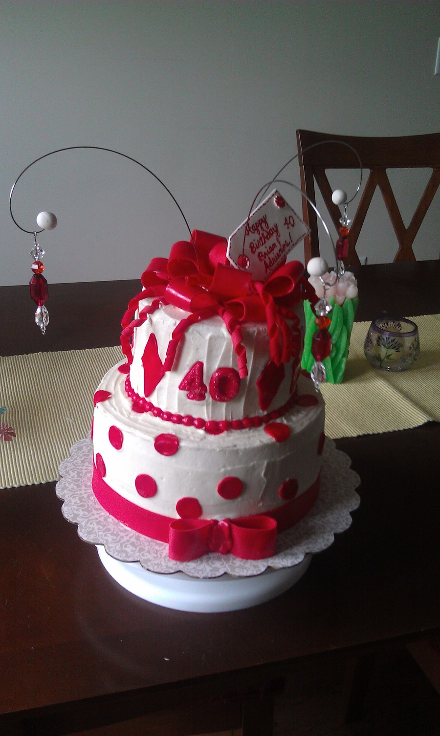 Outstanding Red And White 40Th Birthday Cake Cakecentral Com Funny Birthday Cards Online Eattedamsfinfo