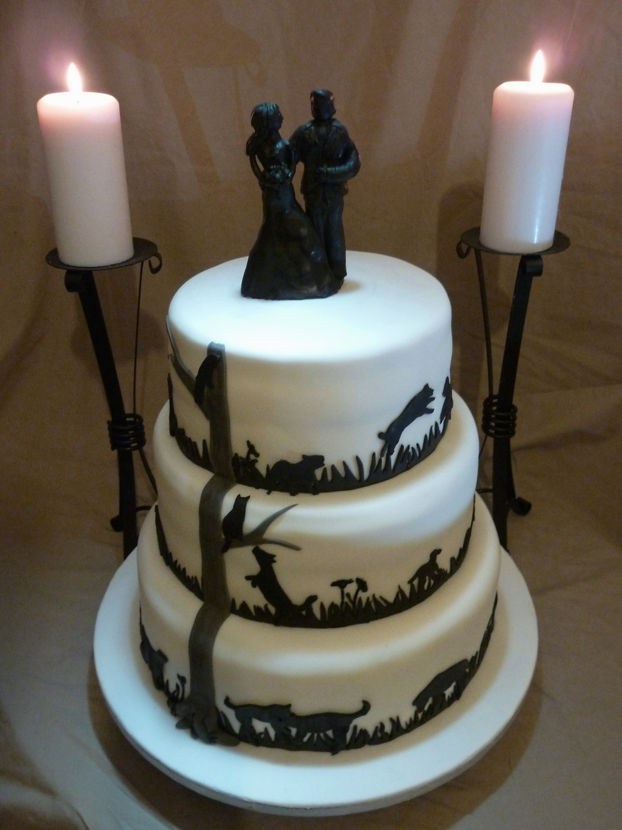 Cats N Dogs Silhouette Tiers on Cake Central