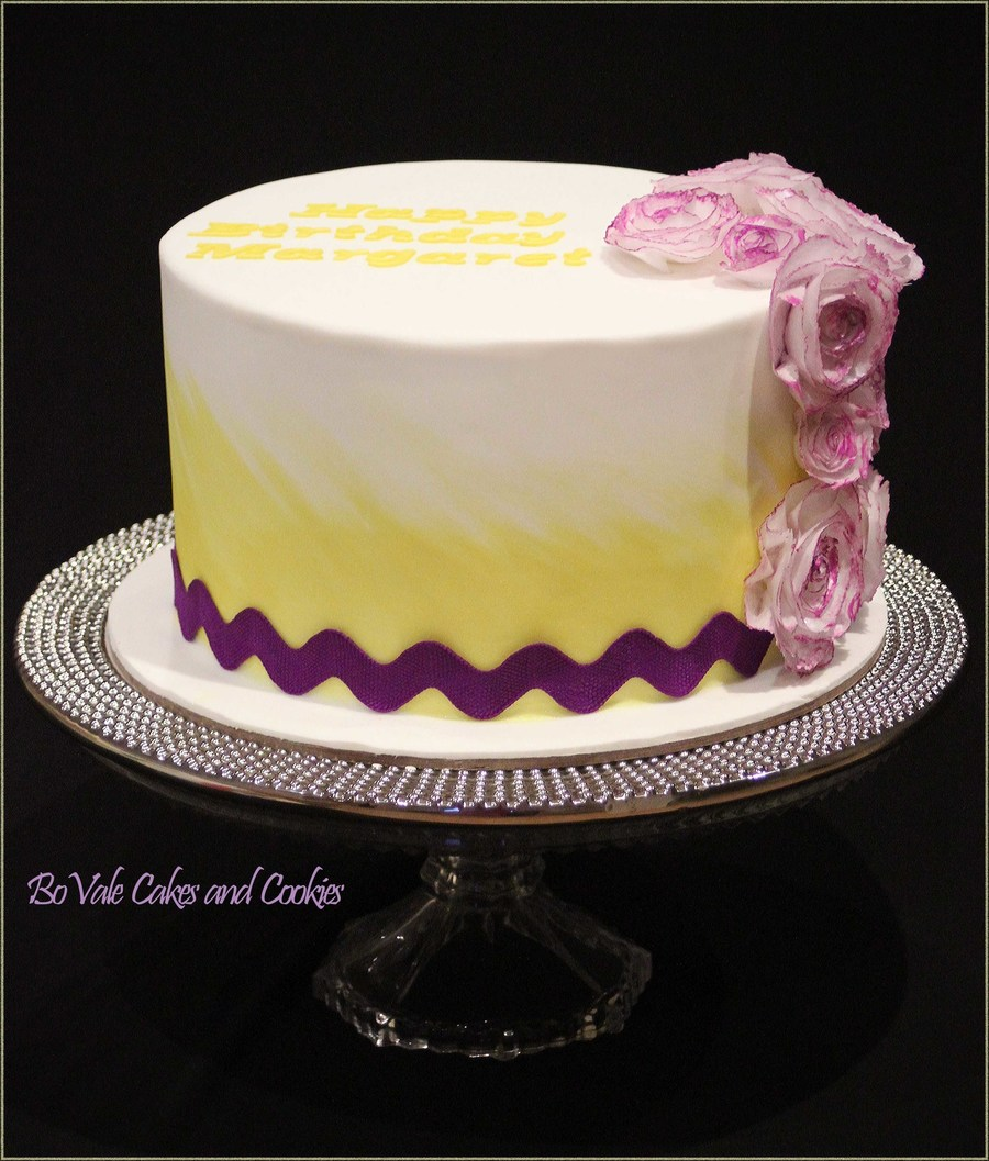 Chocolate Cake With Flowers Made From Rice Paper Thanks For Visiting