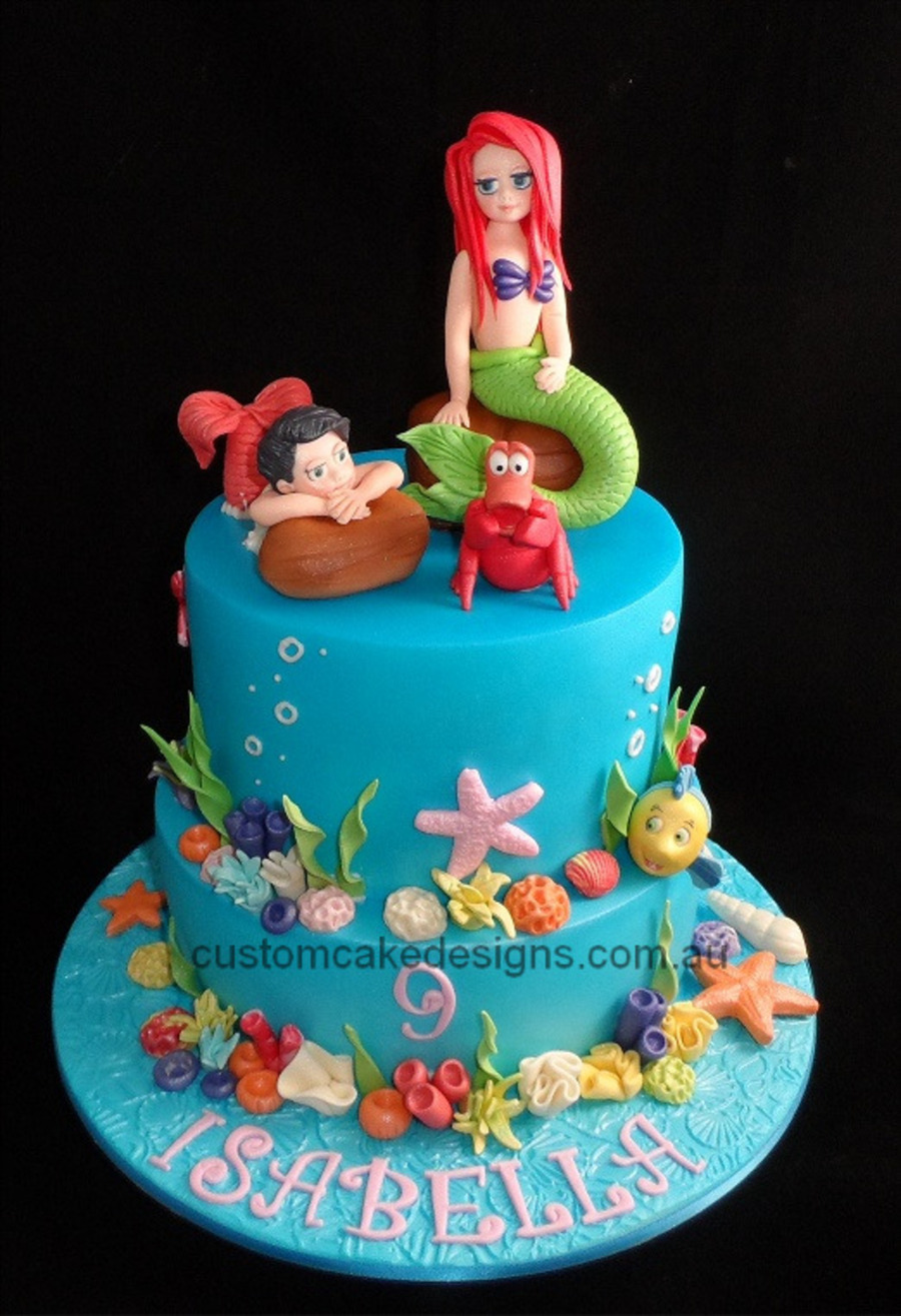 This cake was made for isabella who is turning 9 and is for Ariel cake decoration