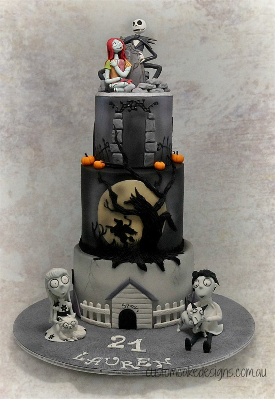 This Huge Cake Was Made For Lauren Who Is An Avid Tim Burton Fan And Wanted Frankenweenie Sleepy Hollow Headless Horseman And A Nigh on Cake Central