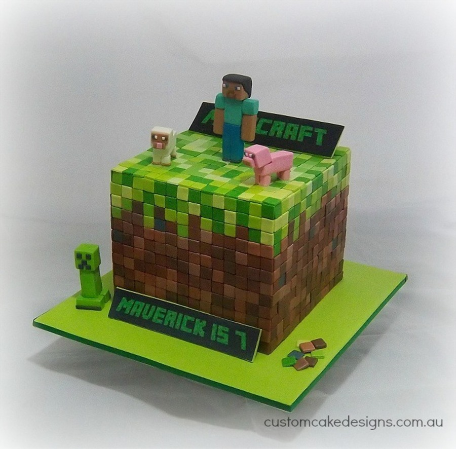 This Minecraft Game Cake Was Made For Little Maverick Who Is Turning 7 Tomorrow The Cake Design Is Based On The Dirt Cube Building Block T... on Cake Central