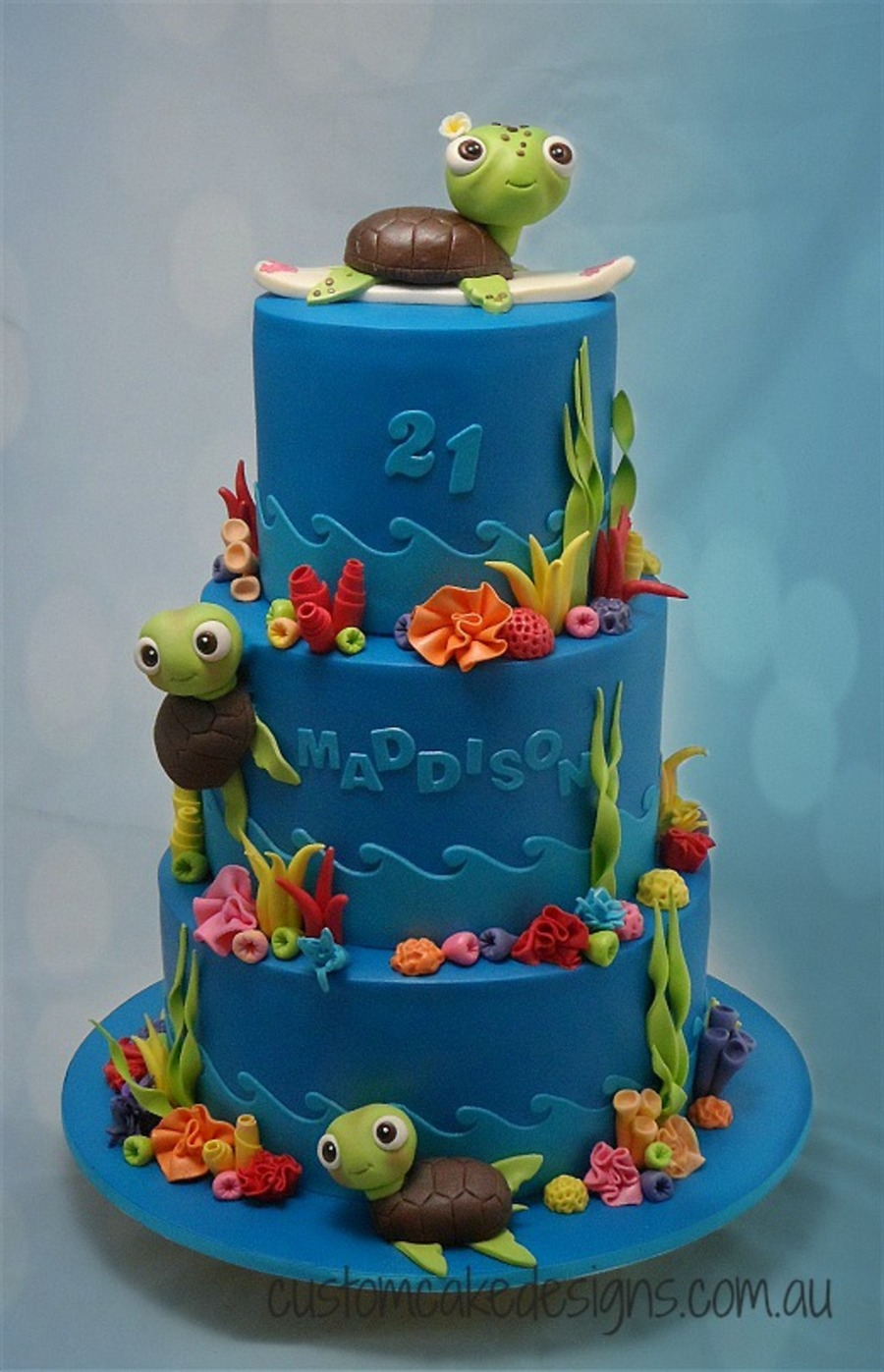 This Cake Was Made For Maddison Who Is Turning 21 This Weekend And Having A Under The Sea Fantasia Themed Party Her Sister Also Wanted To on Cake Central