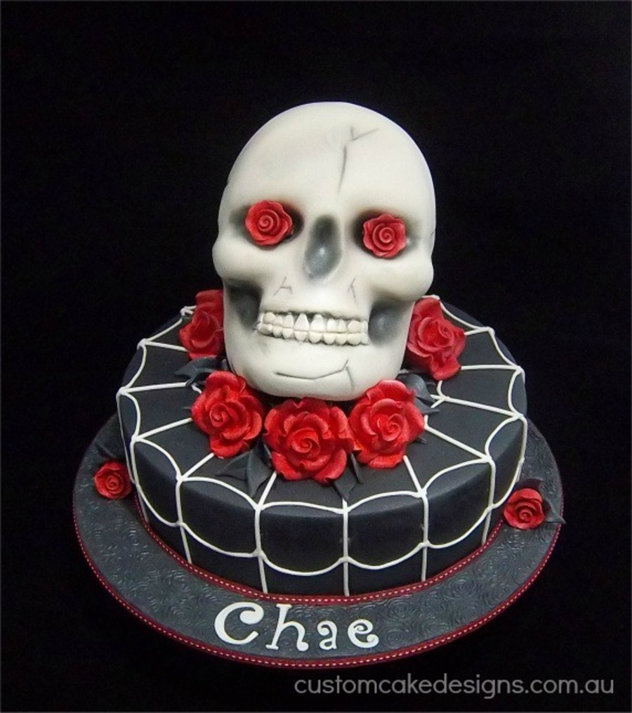 This Cake Was Made For A Lady Who Loves Skulls And Roses Her Husband
