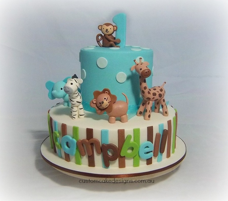 This Cake Was Made For A 1St Birthday That Had A Cartoon