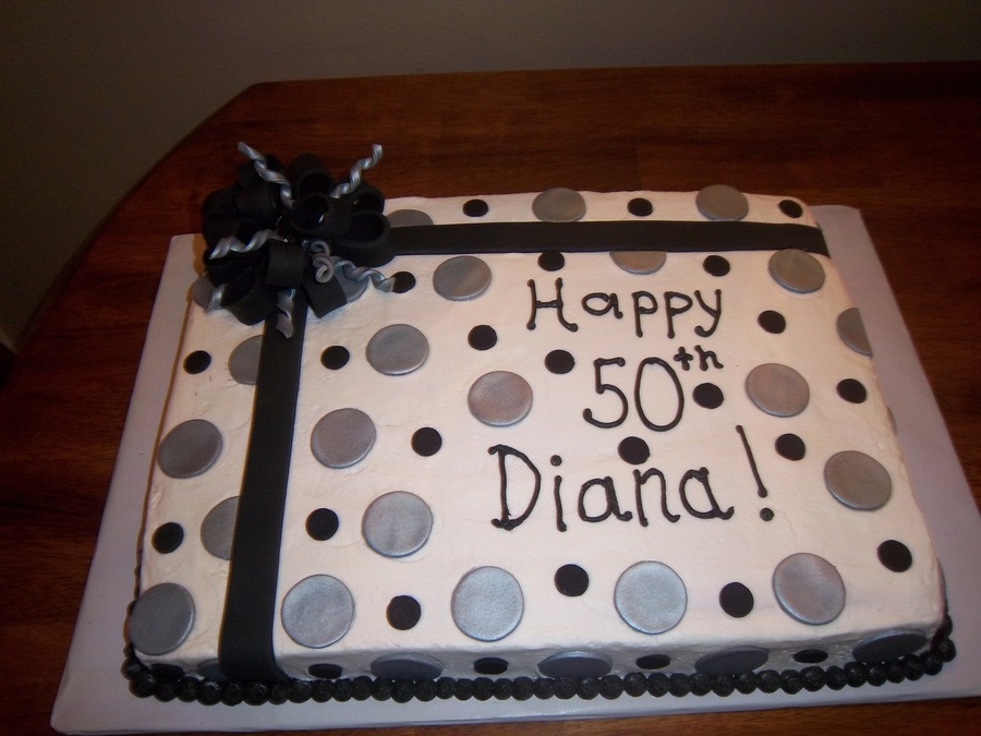 Silver And Black Polka Dot 50th Birthday Cake