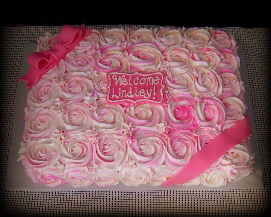 Exceptional Rose Covered Baby Girl Shower Cake On Cake Central